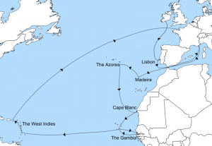 Map of Prince Rupert's travels as Commander of the Royalist Fleet