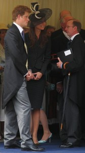 Prince Harry and Kate Middleton (later the Duchess of Cambridge) attending Prince William's 2008 Investiture into the Order of the Garter