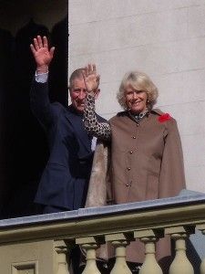 The Prince of Wales and the Duchess of Cornwall on the balcony of Dundurn Castle, Hamilton during their 2009 tour of Canada.