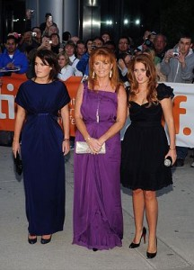 The Duchess of York, Princess Beatrice and Princess Eugenie at the premiere of The Young Victoria in 2009. Photo by Brent Perniac/AdMedia/KEYSTONE Press