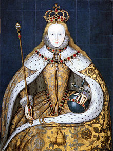 The twenty five year old Elizabeth I in her coronation robes, embroidered with Tudor roses