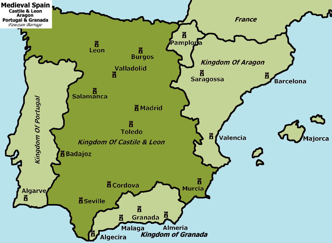 Map Of Spain 1492.Royalty And The Atlantic World 1 The Battle For Spain In 1492
