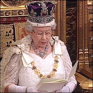 The Queen reading the throne speech at the 2012 State Opening of Parliament