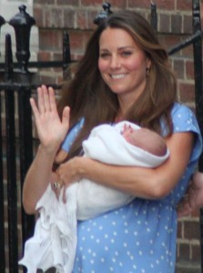 The Duchess of Cambridge leaving the hospital with Prince George of Cambridge that day after his birth