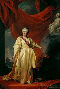 Portrait of Catherine the Great as a Legislator in the Temple Devoted to the Godess of Justice by Dmitri Levitsky, early 1780s.