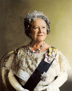 Portrait of Her Majesty Queen Elizabeth The Queen Mother by Richard Stone in 1986