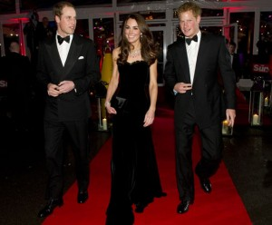 The Duke and Duchess of Cambridge and Prince Harry at The 2011 Sun Military Awards at Imperial War Museum in London.  (Photo by Arthur Edwards - WPA Pool/Getty Images