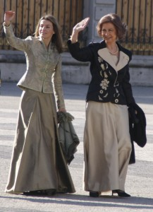 Queen Sofia [right] with her daughter-in-law, Felipe VI's consort, Queen Letizia