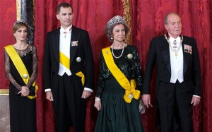 Princess Letizia, Prince Felipe, Queen Sofia and King Juan Carlos of Spain. Photo credit: Abraham Carralero/Getty