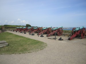 "The Kronborg Cannons, overlooking ""the Sound"" between Denmark and Sweden"