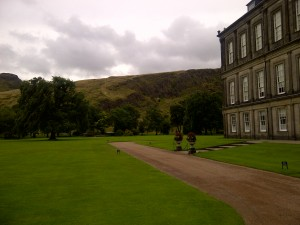 Holyroodhouse Gardens, where the Queen hosts Scottish garden parties today.