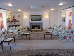The Queen's drawing room aboard Britannia