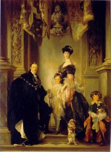 "Portrait Consuelo Vanderbuilt, Duchess of Marlborigh with her husband and two sons, whom she dubbed, ""the heir and the spare."""