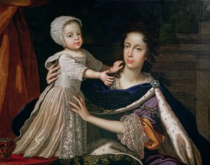 "Mary of Modena, consort of James II, with her son James, known as the warming pan baby or ""the Old Pretender"""