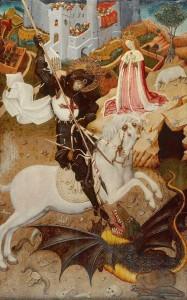 Saint George, England's patron saint, slaying a dragon
