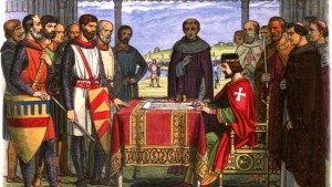 19th century representation of King John accepting Magna Carta in 1215