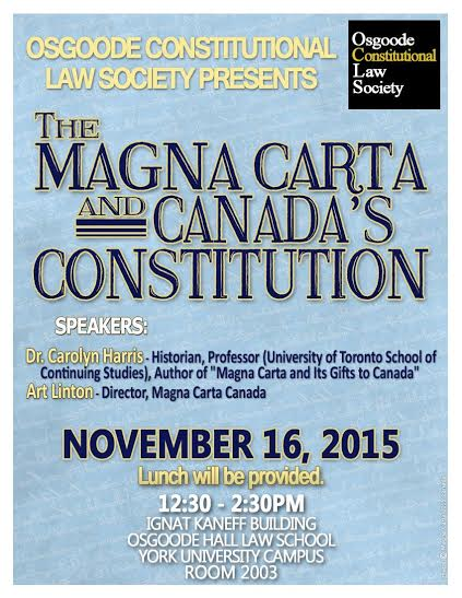 My talk on magna carta and canada s constitution for the osgoode
