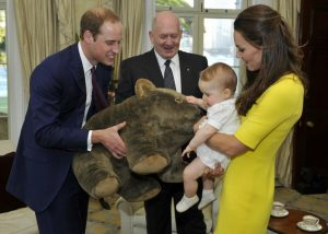 Prince George of Cambridge, with his parents The Duke and Duchess of Cambridge, receives a gift from the Governor-General of Australia at Admiralty House, Sydney in 2014. The 2016 royal tour of Canada will be second overseas tour for Prince George.
