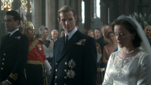 Claire Foy and Matt Smith as the Queen and Prince Philip in the  Netflix series, The Crown